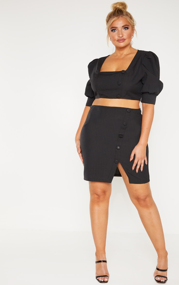 Plus Black Woven Square Neck Puff Sleeve Crop Top 4