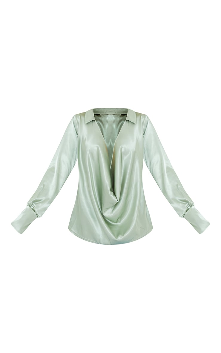 Sage Extreme Cowl Long Line Satin Shirt 5