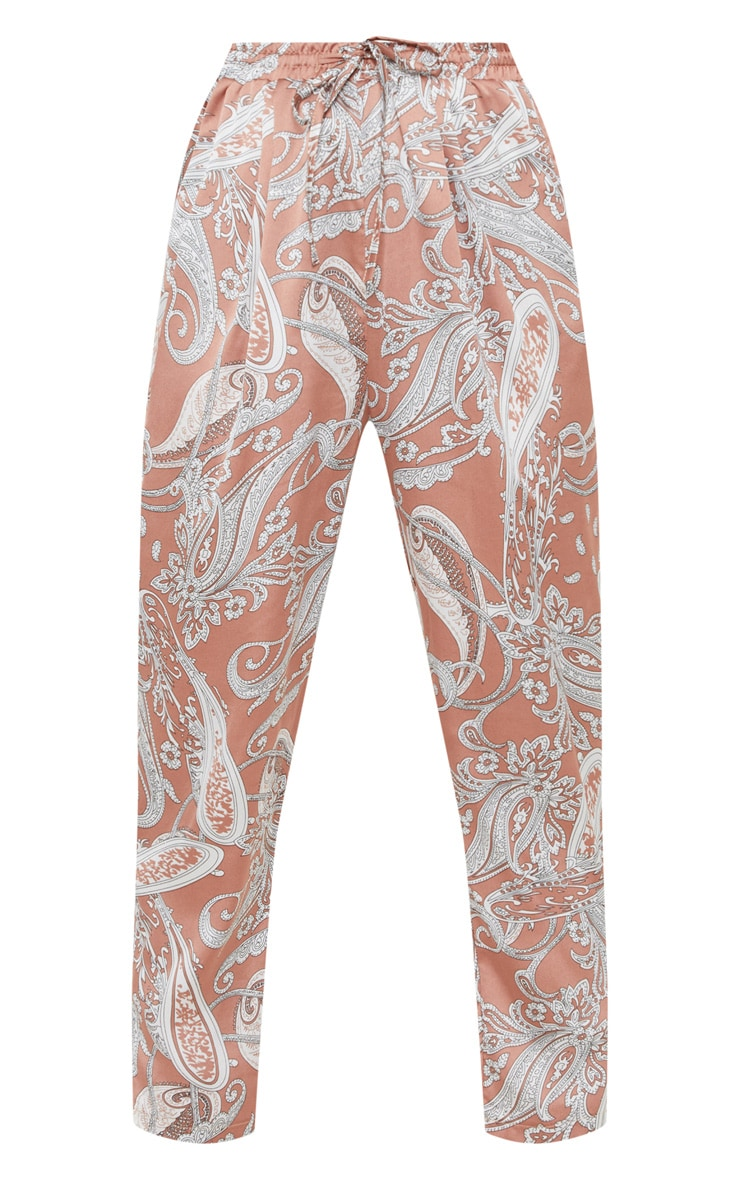 Peach Satin Paisley Printed Cigarette Trouser 3