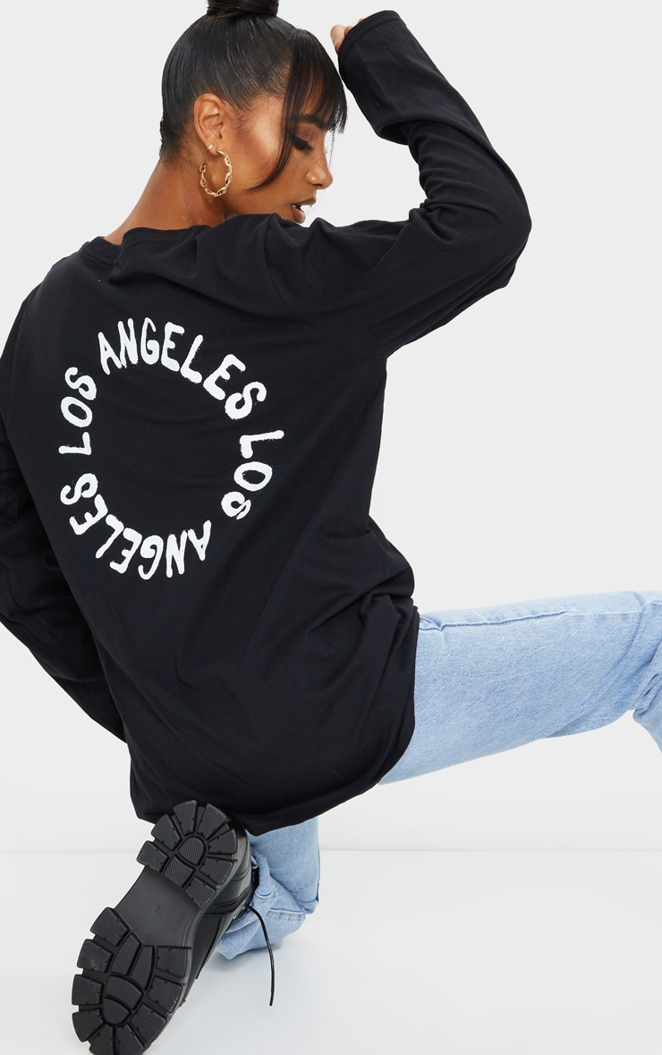 Tee-shirt manches longues oversize noir à imprimé L.A. 3