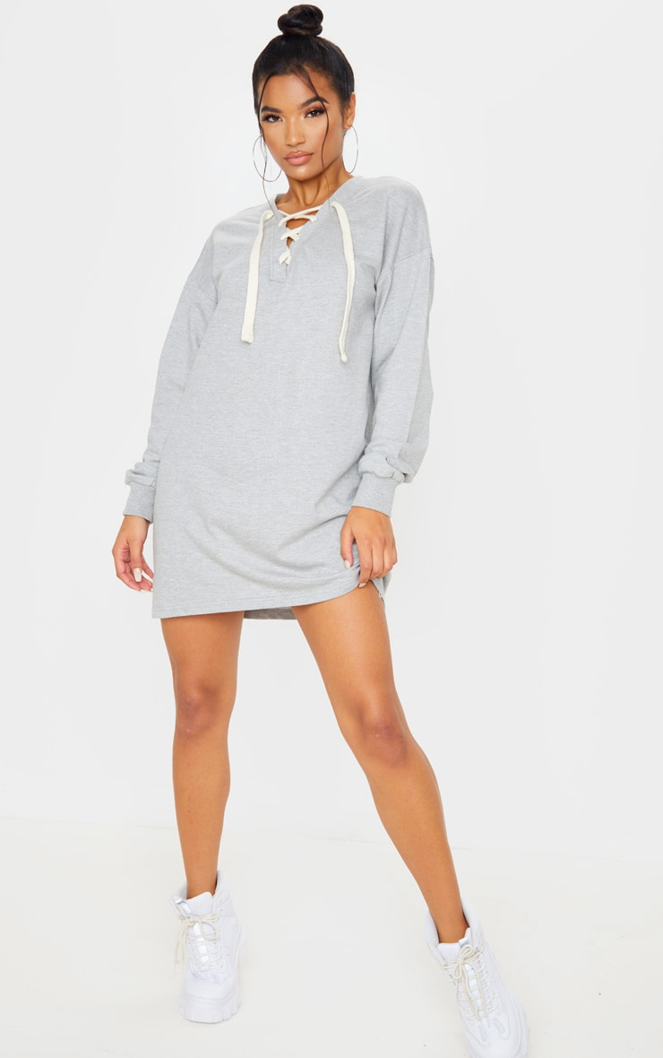 Grey Lace Up Oversized Sweat Jumper Dress  4