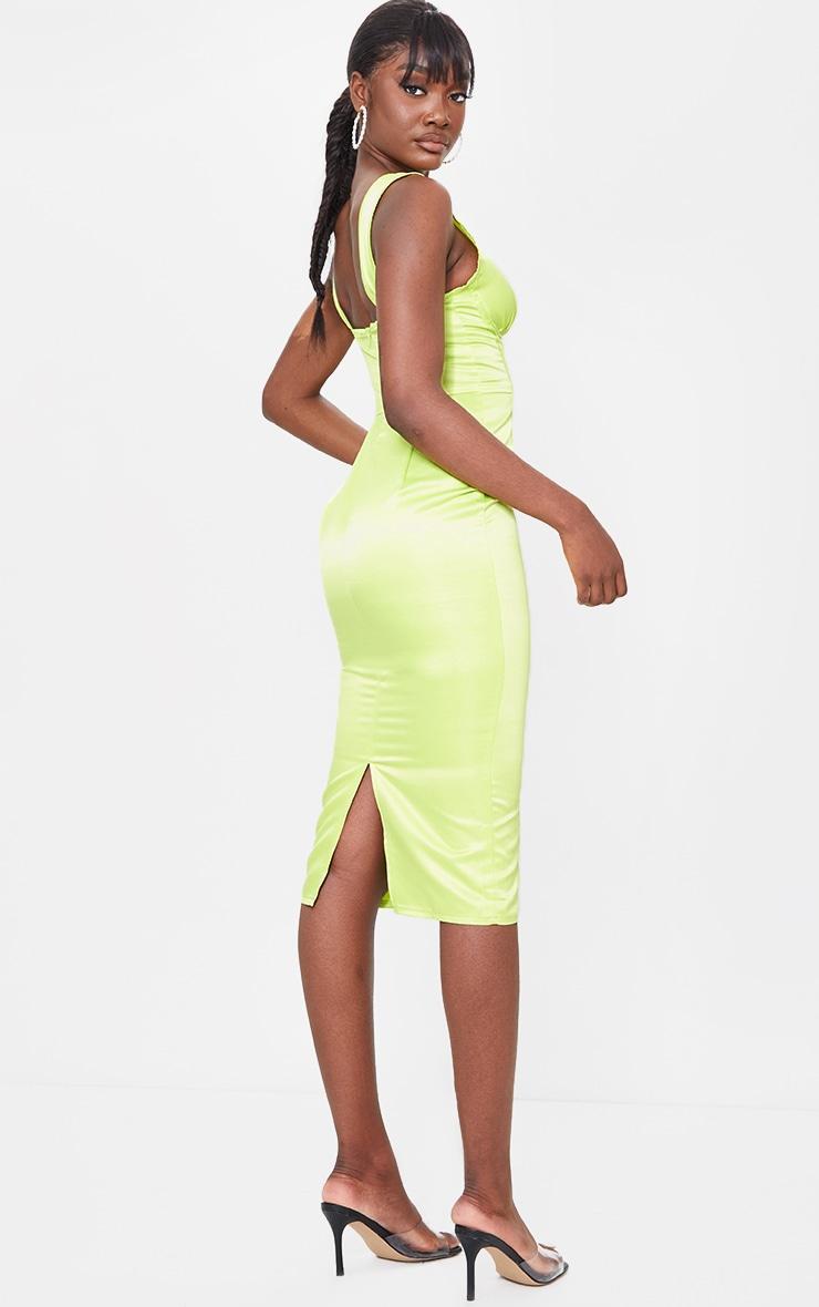 Tall Lime Satin Corset Detail Midi Dress 2
