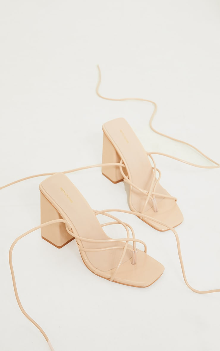 Nude PU Toe Loop Lace Up Chunky Block Heeled Sandals 3