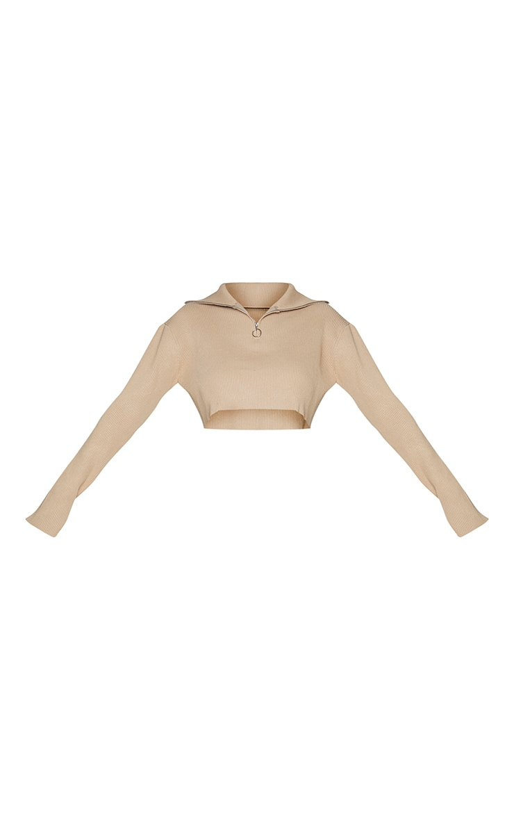Stone Cropped Knitted Zip Up Sweater 5