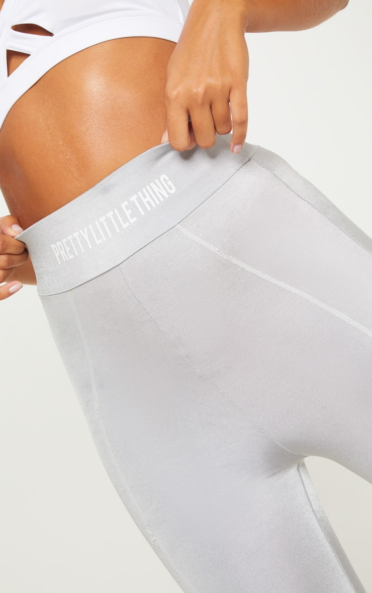 PRETTYLITTLETHING Grey High Waisted Sports Legging 6