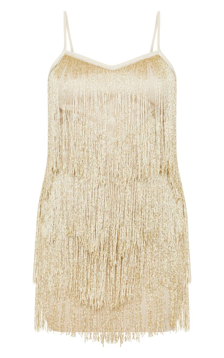 Petite Gold Tassel Strappy Mini Dress 3