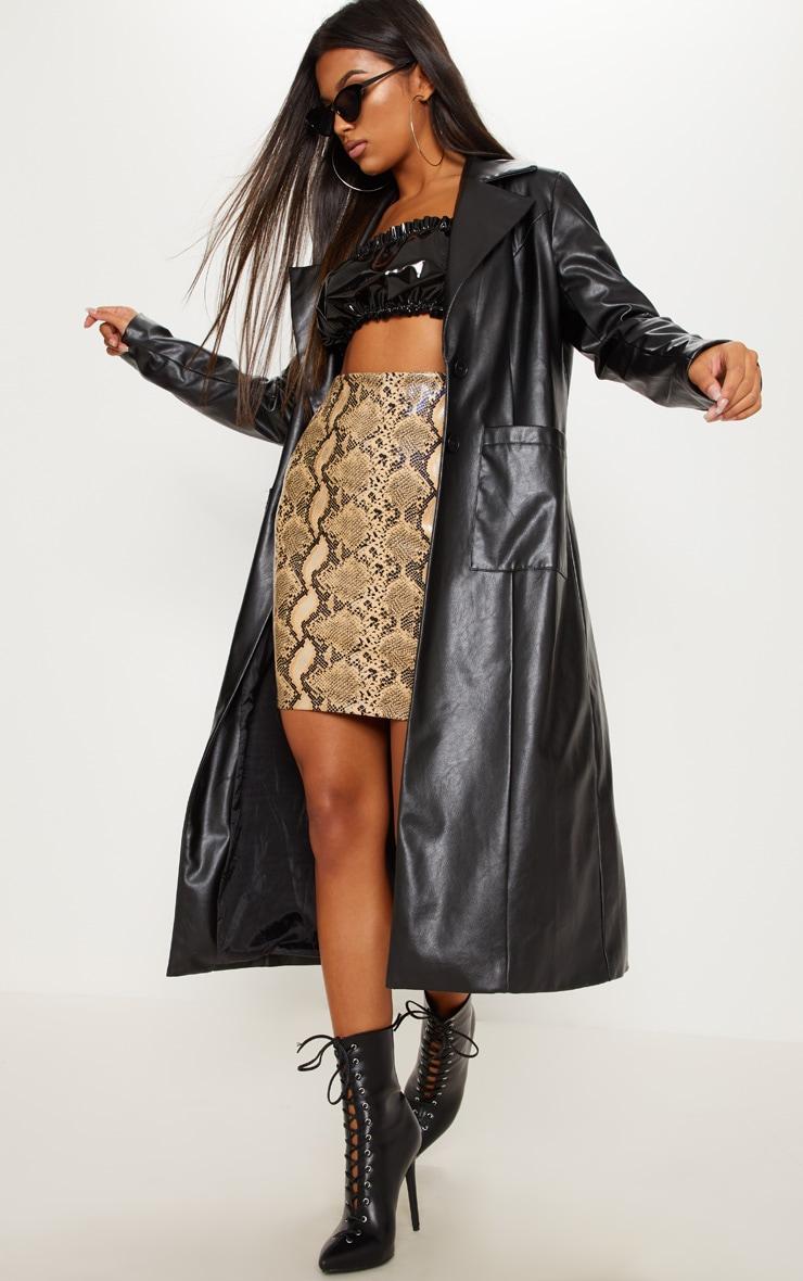 Cream Faux Leather Snake Print Mini Skirt