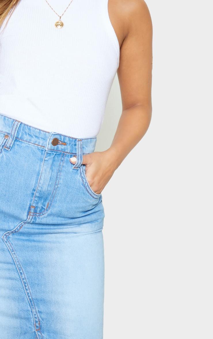 Petite - Jupe mi-longue en jean très délavé  5