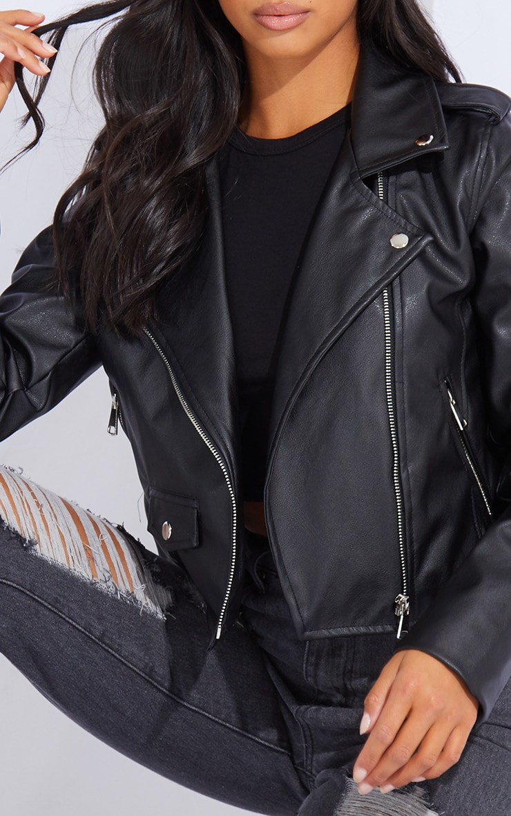 Petite Black PU Biker Jacket With Zips 4
