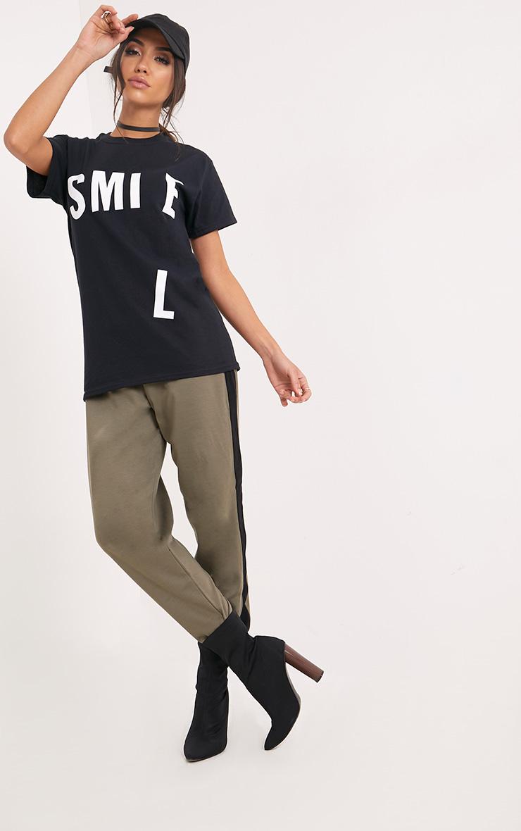 SMILE Slogan Black Printed Back T Shirt 5