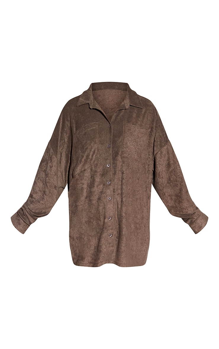 Brown Toweling Oversized Shirt 5