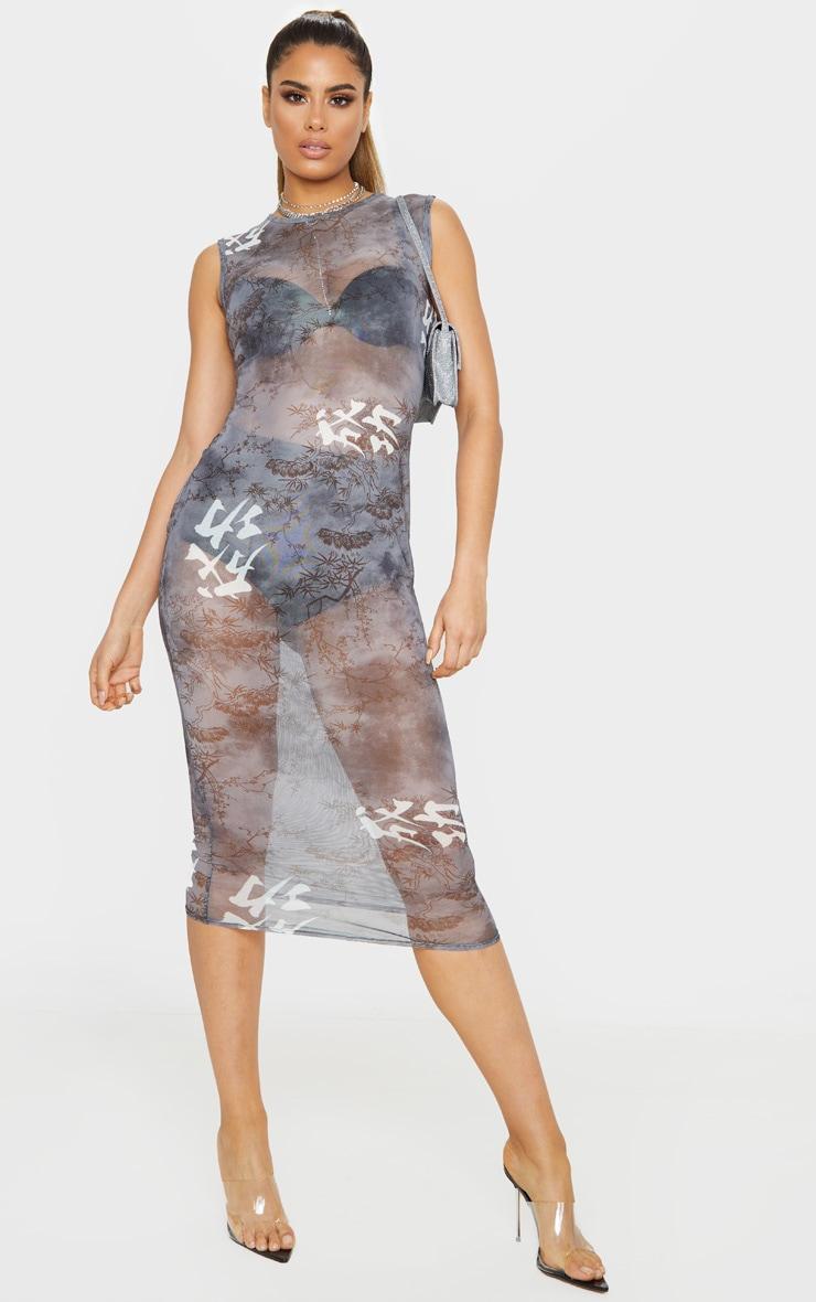 Tall Black Oriental Mesh Midi Dress 1