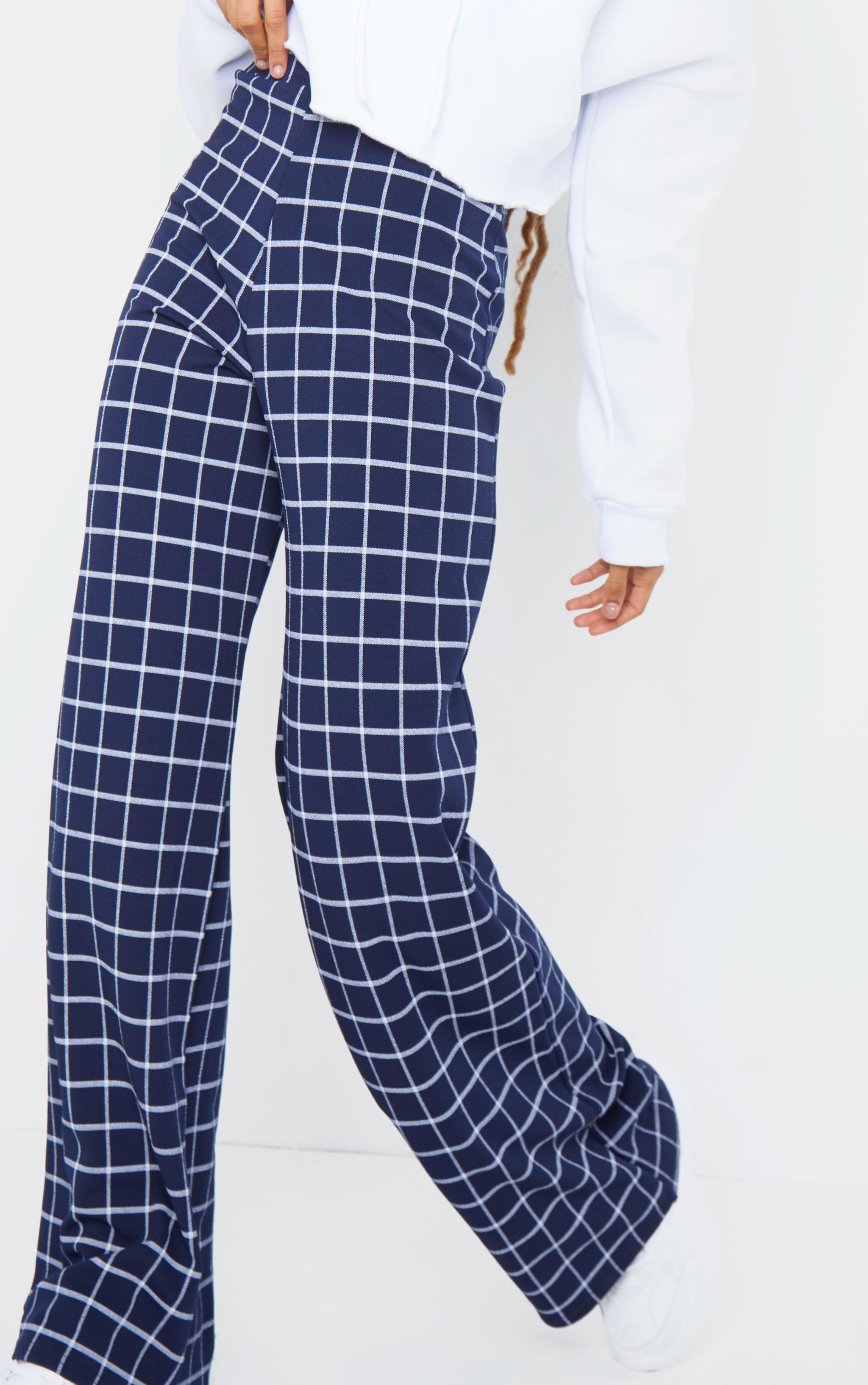 Navy Check Print Wide Leg Pants 4