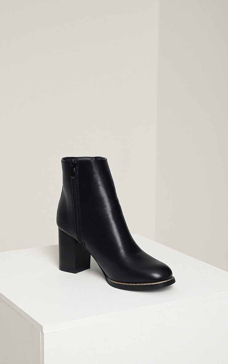 Elana Black Faux Leather Heeled Ankle Boots 6