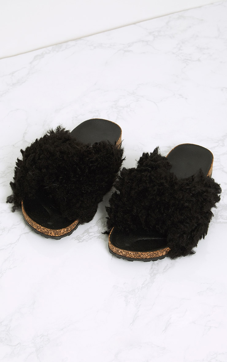 Fayah Black Faux Shearling Sliders 1