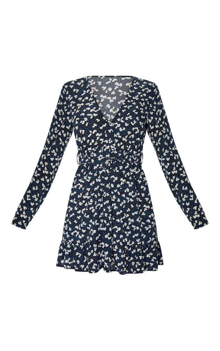 Black Daisy Print Button Through Frill Hem Tie Waist Shift Dress 5