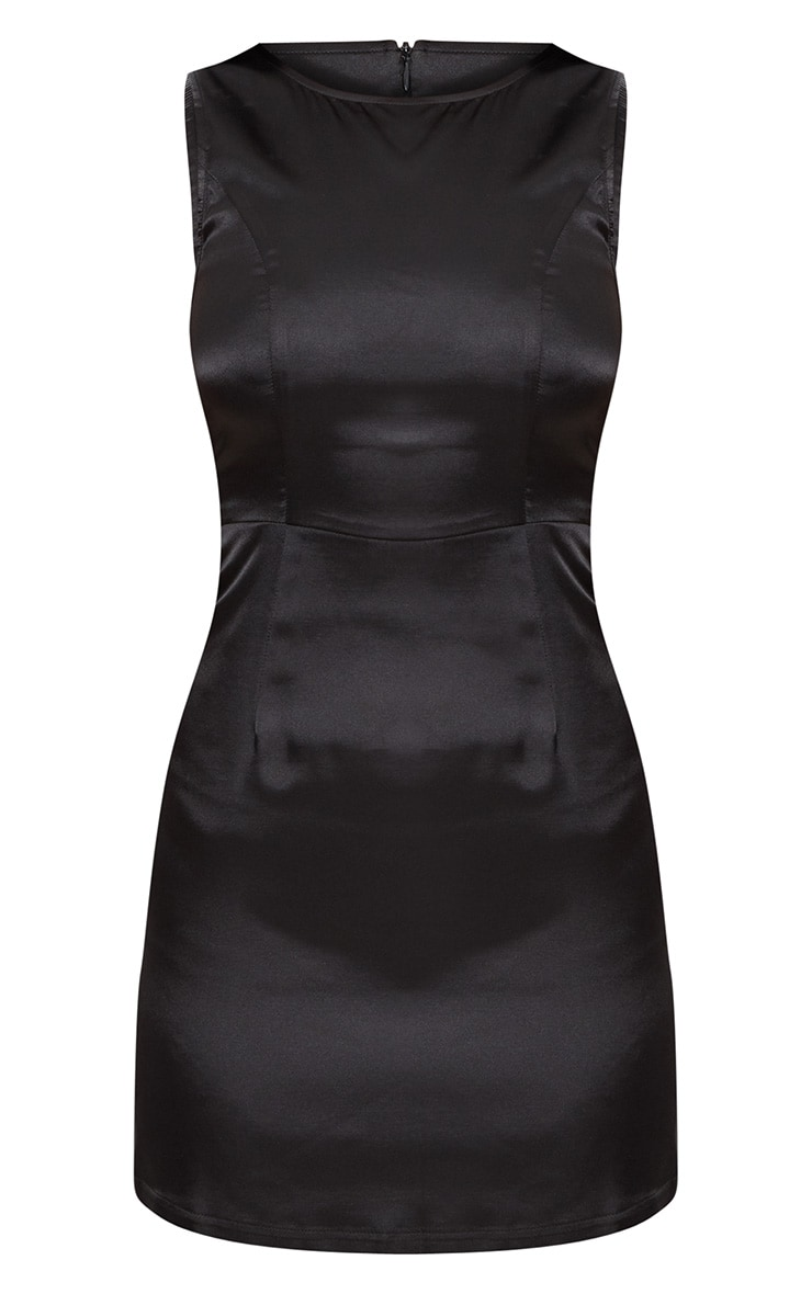 Black Satin Shift Dress 3
