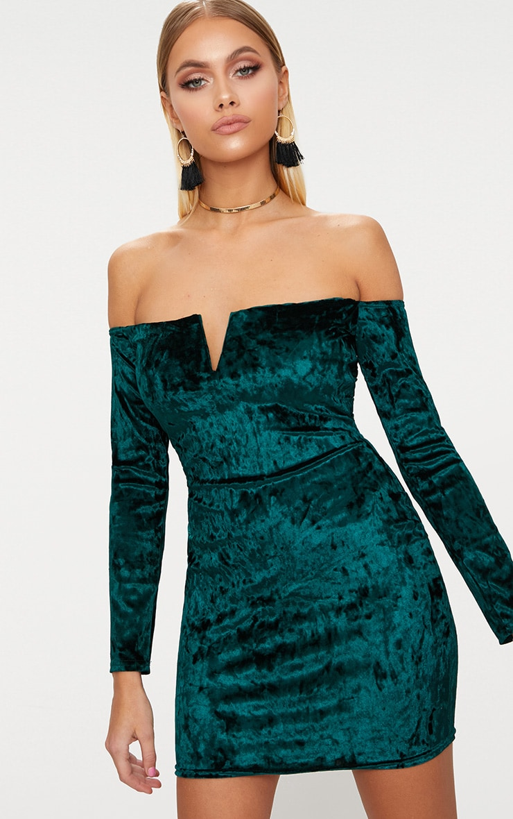 Emerald Green Velvet V Bar Bardot Bodycon Dress 1