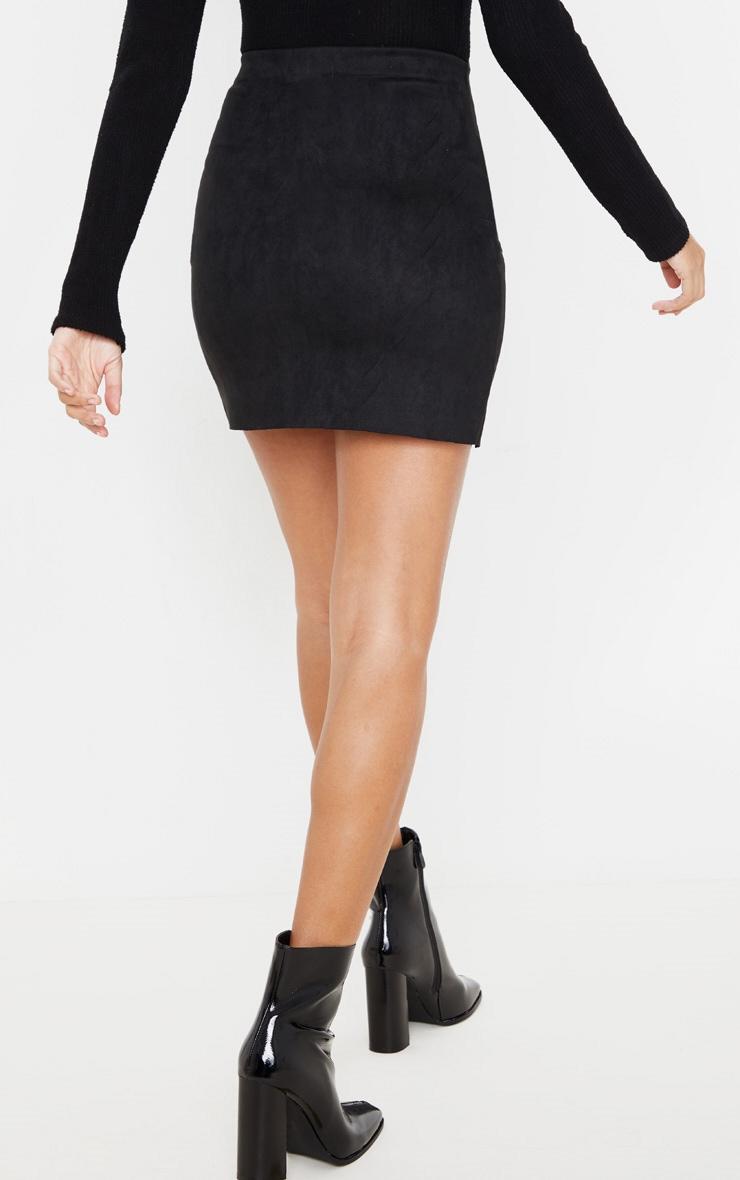 Black Faux Suede Zip Detail A Line Skirt 4