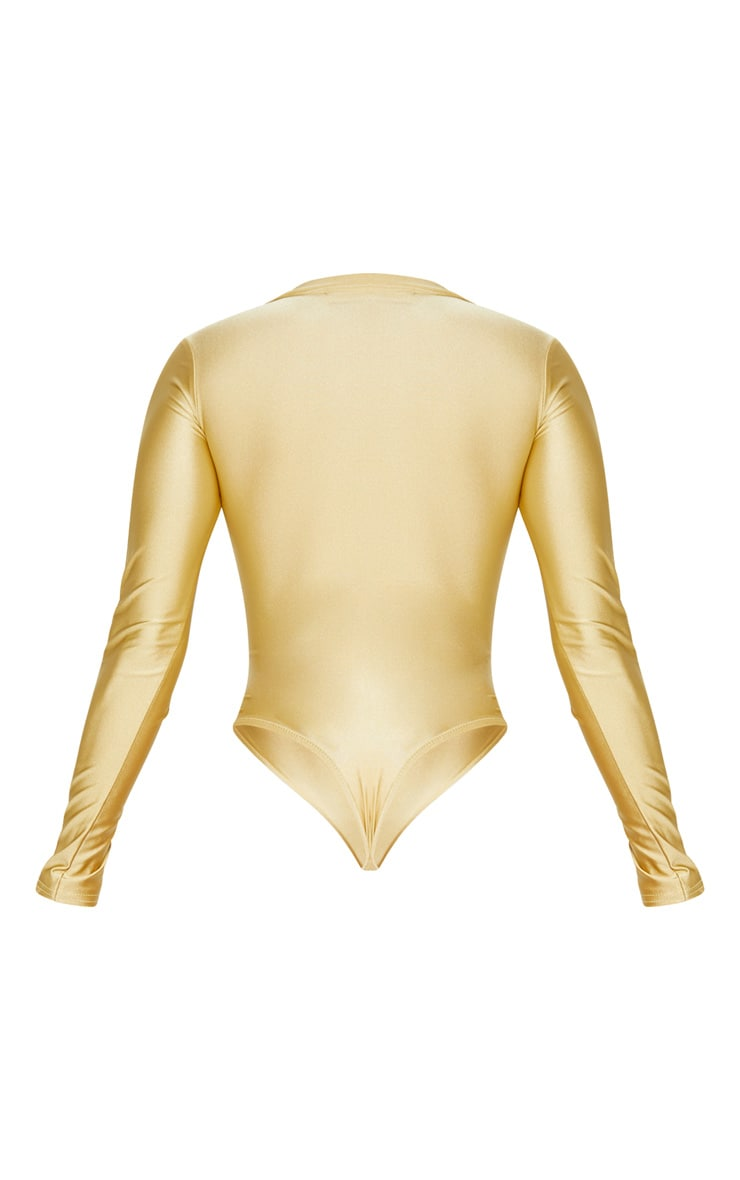 Gold Disco Collar Long Sleeve Bodysuit 4