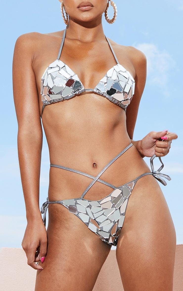 Gunmetal Mirror Metallic Bikini Bottom 1