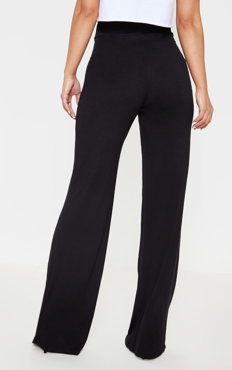 Petite Black Drawstring Jersey Wide Leg Track Pants 4