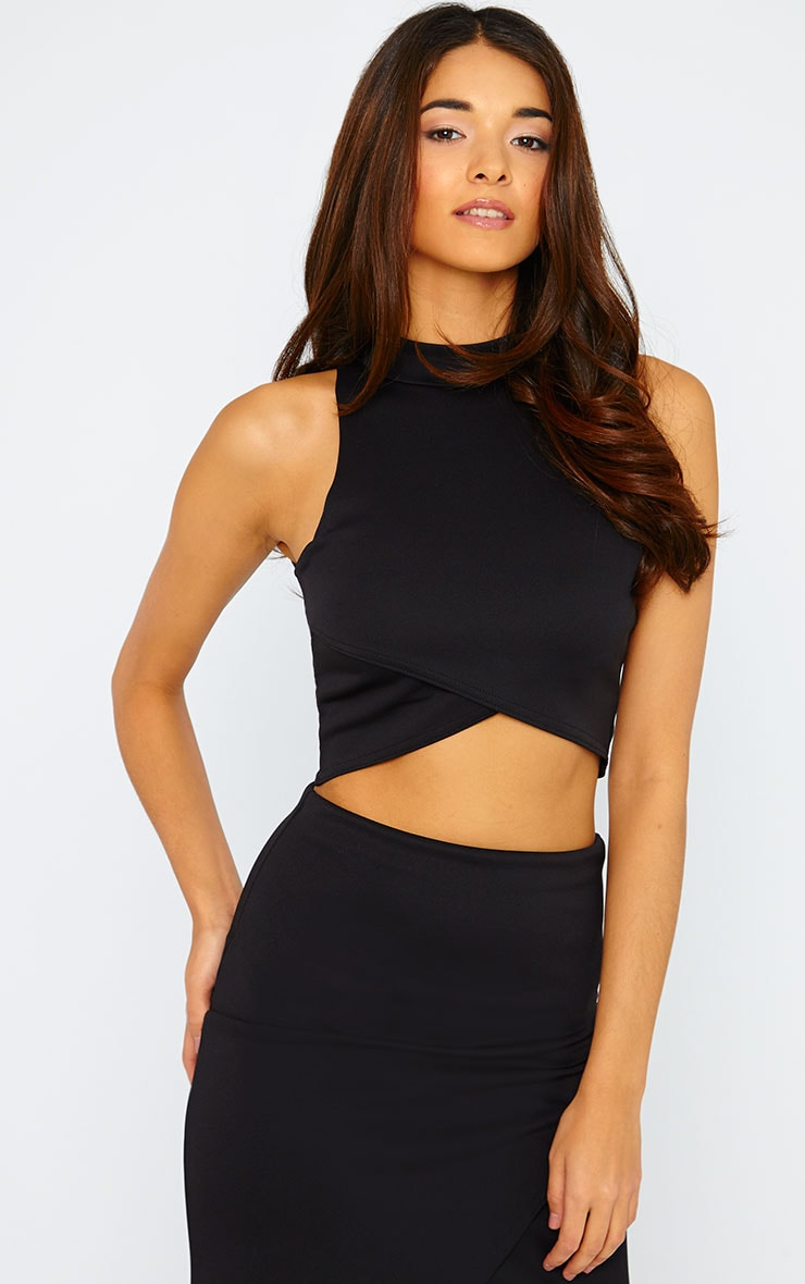 Lia Black High Neck Wrap Top 1