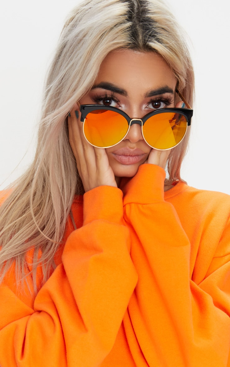 Orange Lens Mirrored Sunglasses