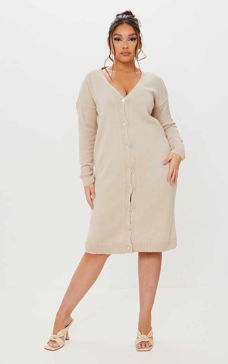 Plus Stone V Neck Knitted Button Up Midi Cardigan 1
