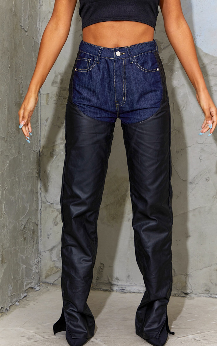 Dark Blue Wash Contrast Denim Coated Straight Leg Split Hem Jeans 5