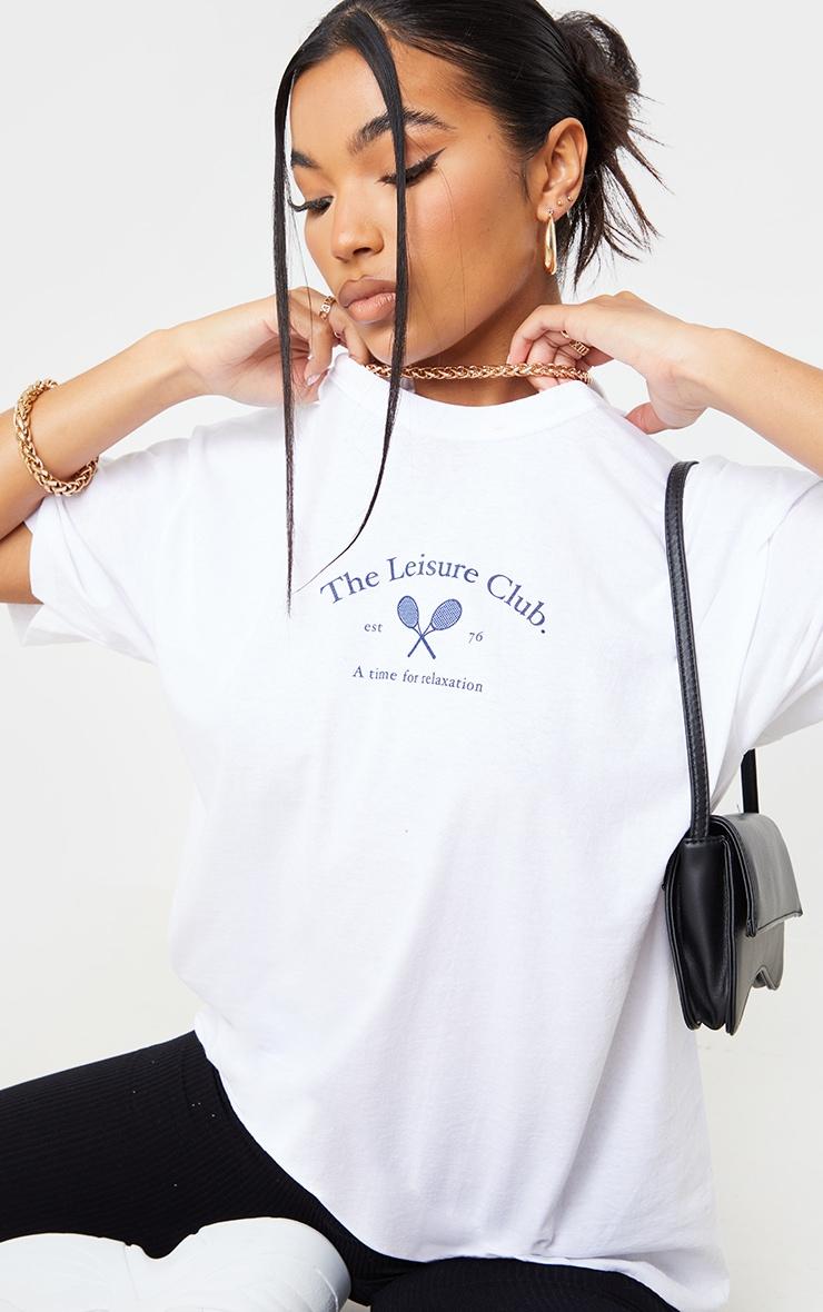 White The Leisure Club Printed T Shirt 1