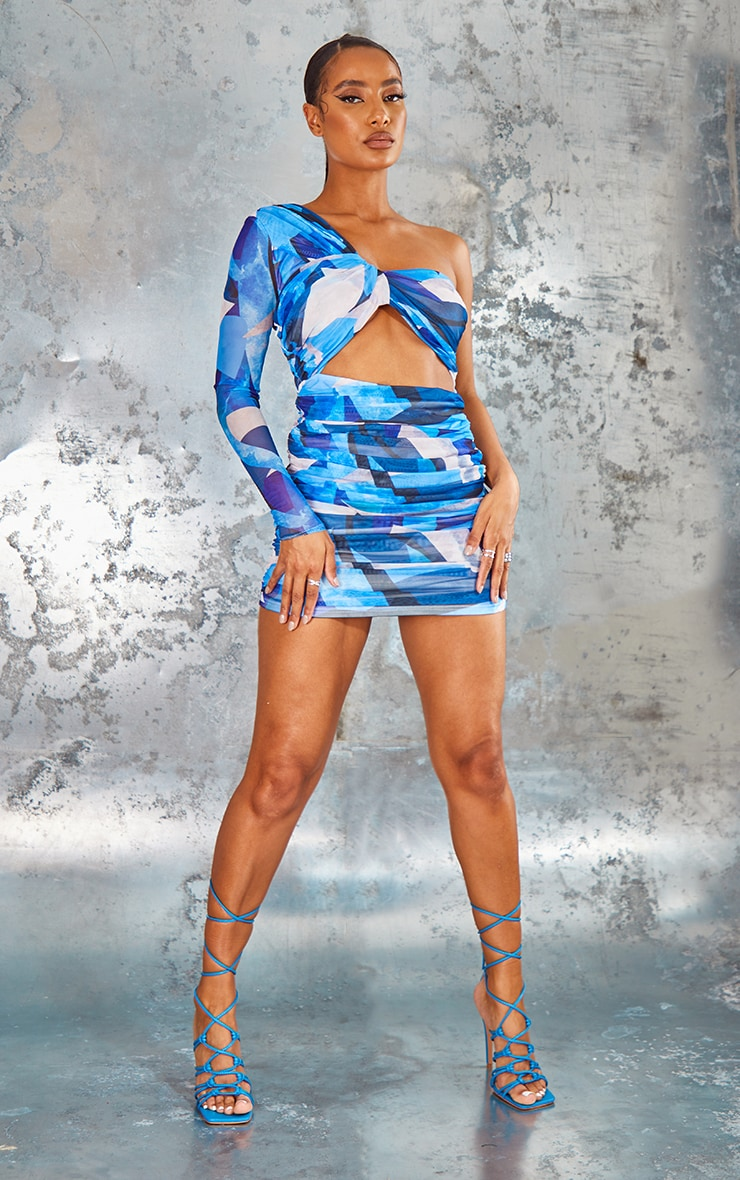 Blue Abstract Print Mesh One Shoulder Detail Bodycon Dress 1