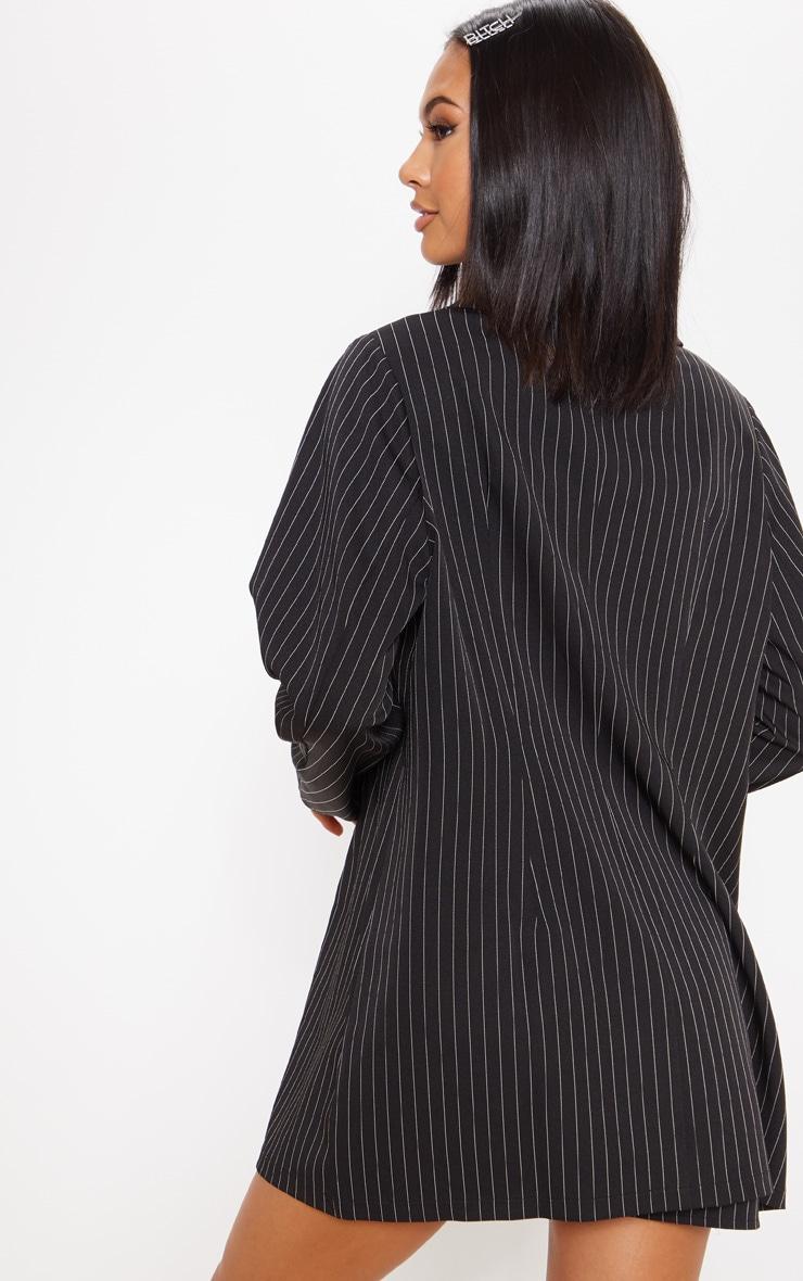 Black Pinstripe Oversized Woven Blazer 2