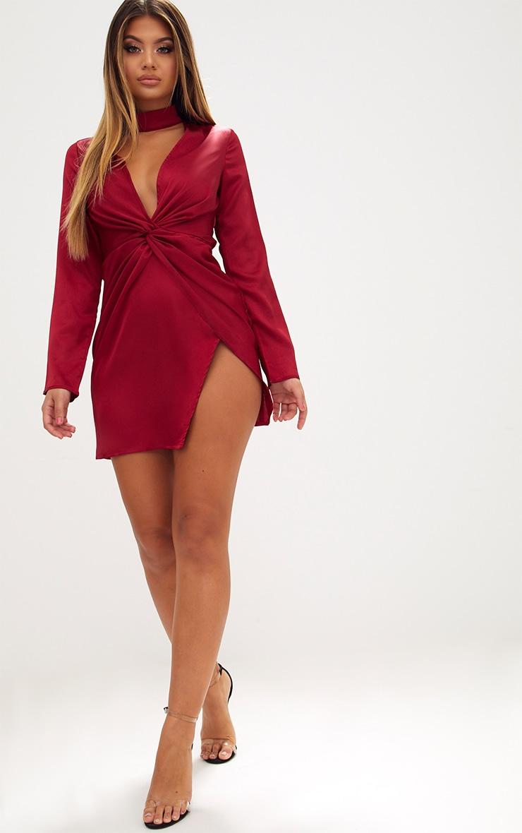 Burgundy Satin Choker Detail Wrap Bodycon Dress 4