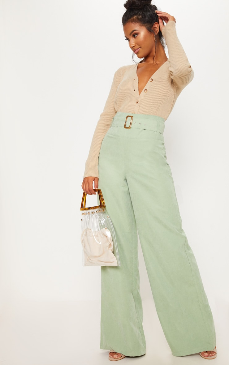 Sage Green Faux Suede Belted Wide Leg Pants 1