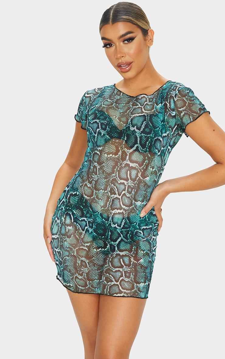 Green Snake Print Mesh Short Sleeve Frill Edge Bodycon Dress 1