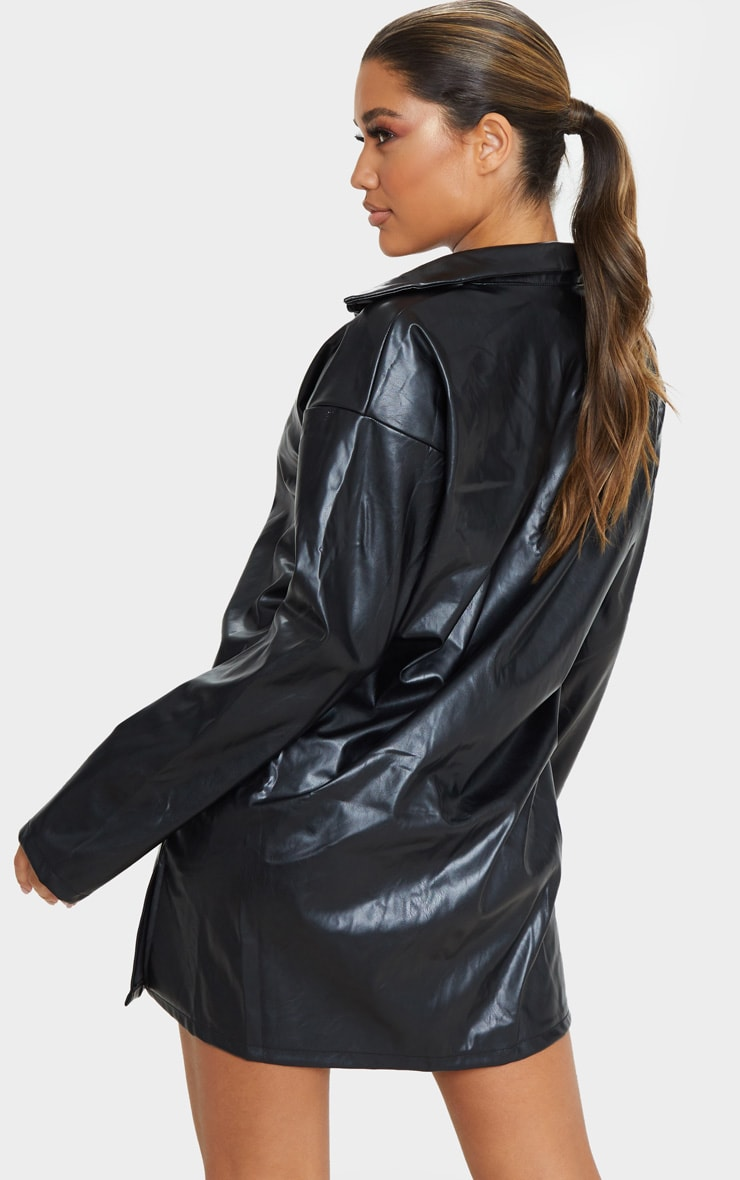 Black Faux Leather Oversized Shirt Dress 2