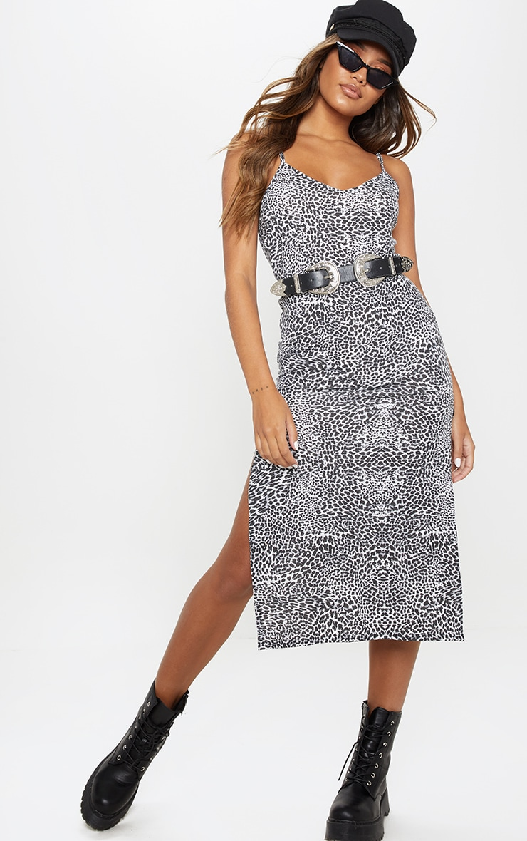 Black Leopard Print Jersey Split Cami Midi Dress 1