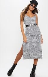 Black Leopard Print Jersey Split Cami Midi Dress 1