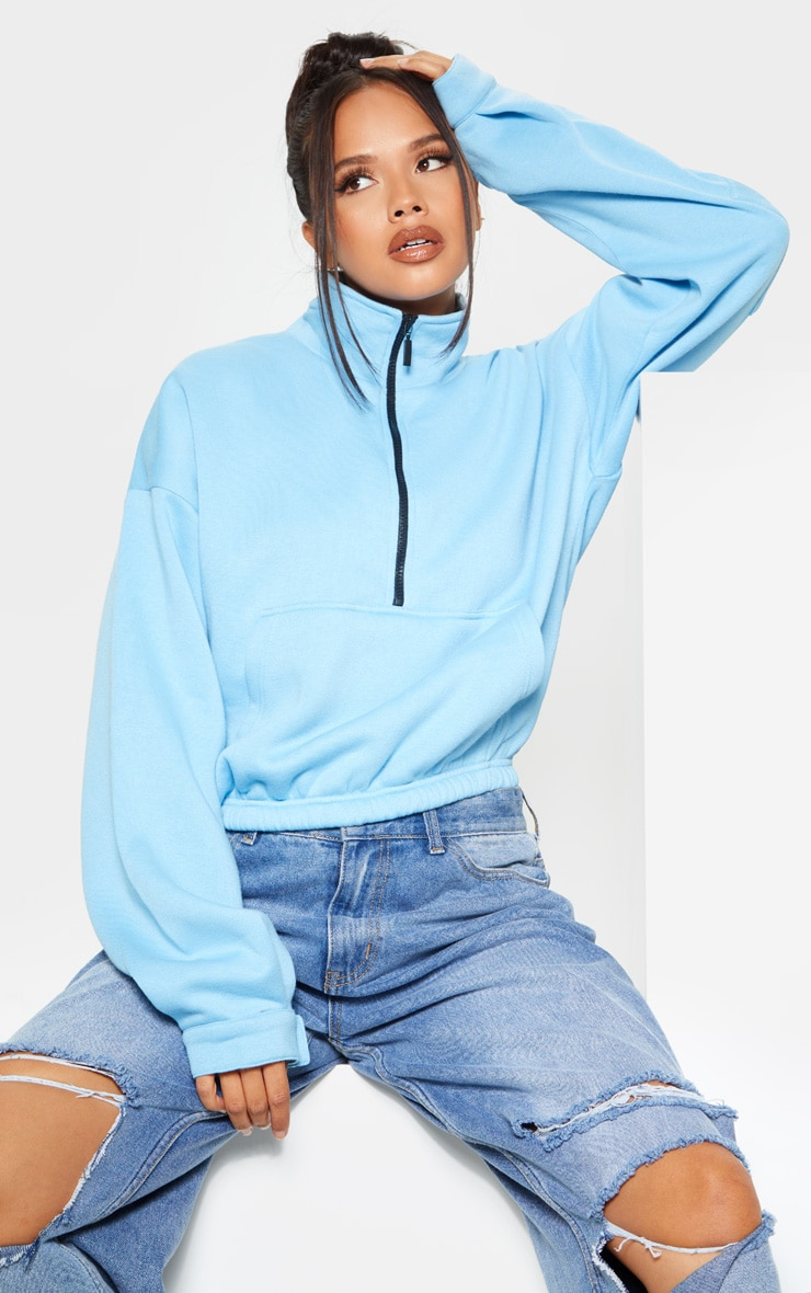 Bright Blue Oversized Zip Front Sweater 1