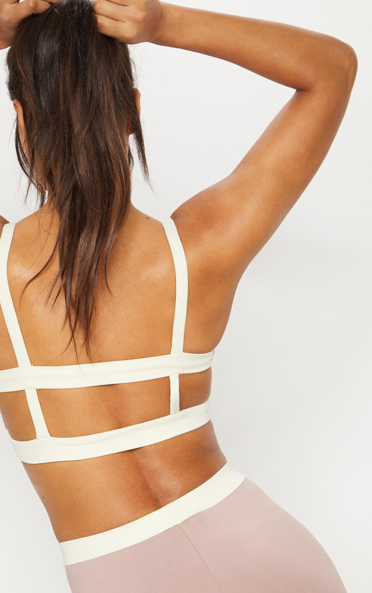 Taupe Caged Back Contrast Sports Bra 6
