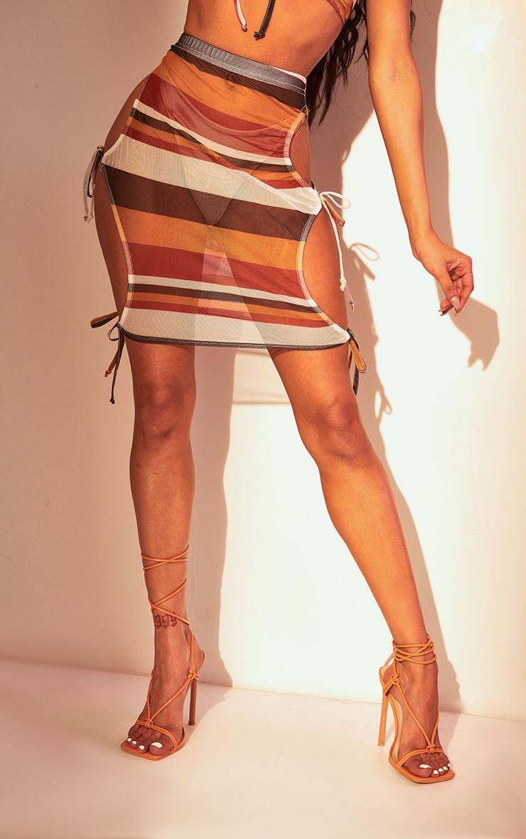 Brown Stripe Mesh Tie Side Mini Skirt 3