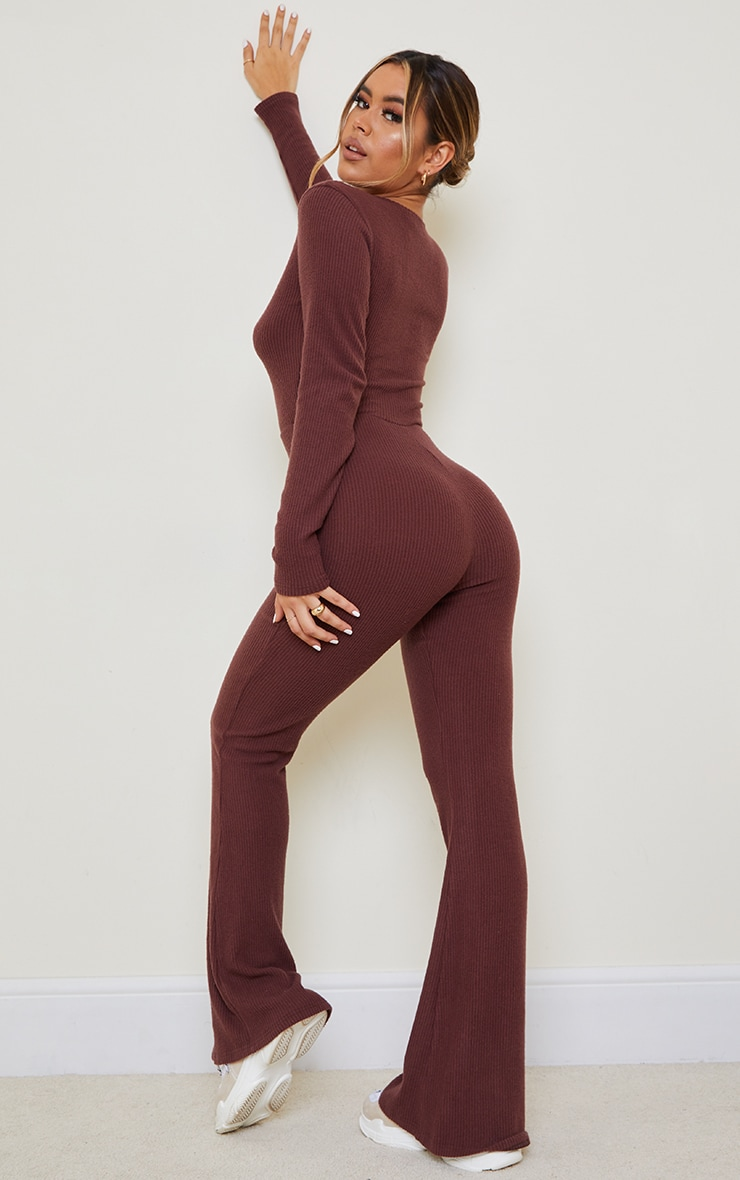 Chocolate Brushed Rib Button Front Long Sleeve Jumpsuit 2