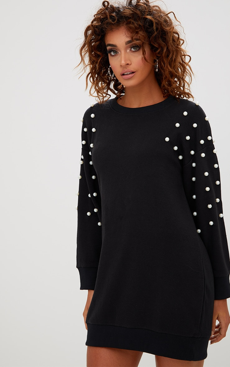 Black Pearl Detail Jumper Dress 1