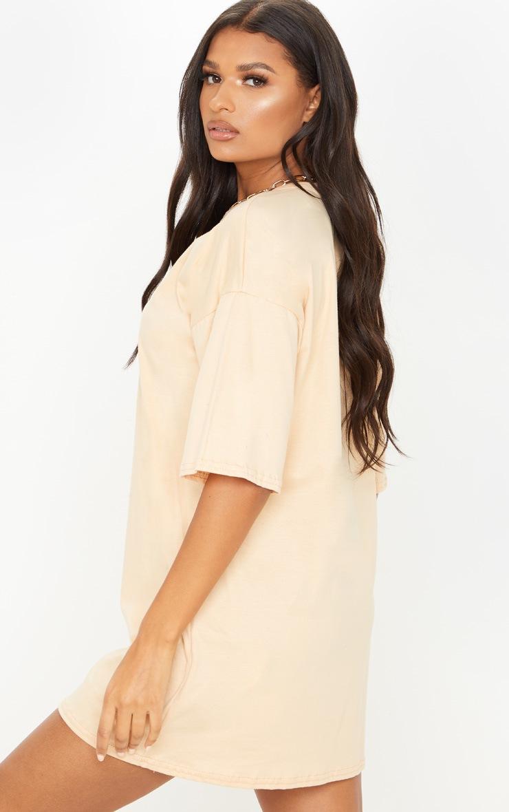 PRETTYLITTLETHING Fawn Slogan Oversized Boyfriend T Shirt Dress 2