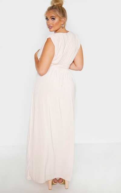 Plus Peach Ruched Plunge Maxi Dress
