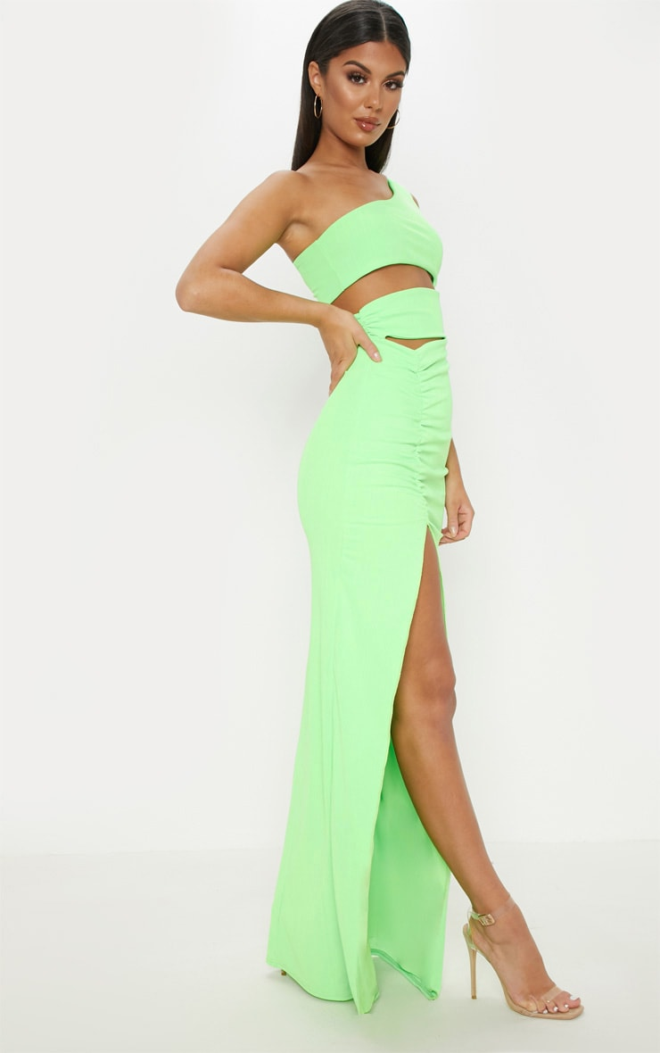 Neon Lime Slinky Rib Cut Out Split Maxi Dress 4