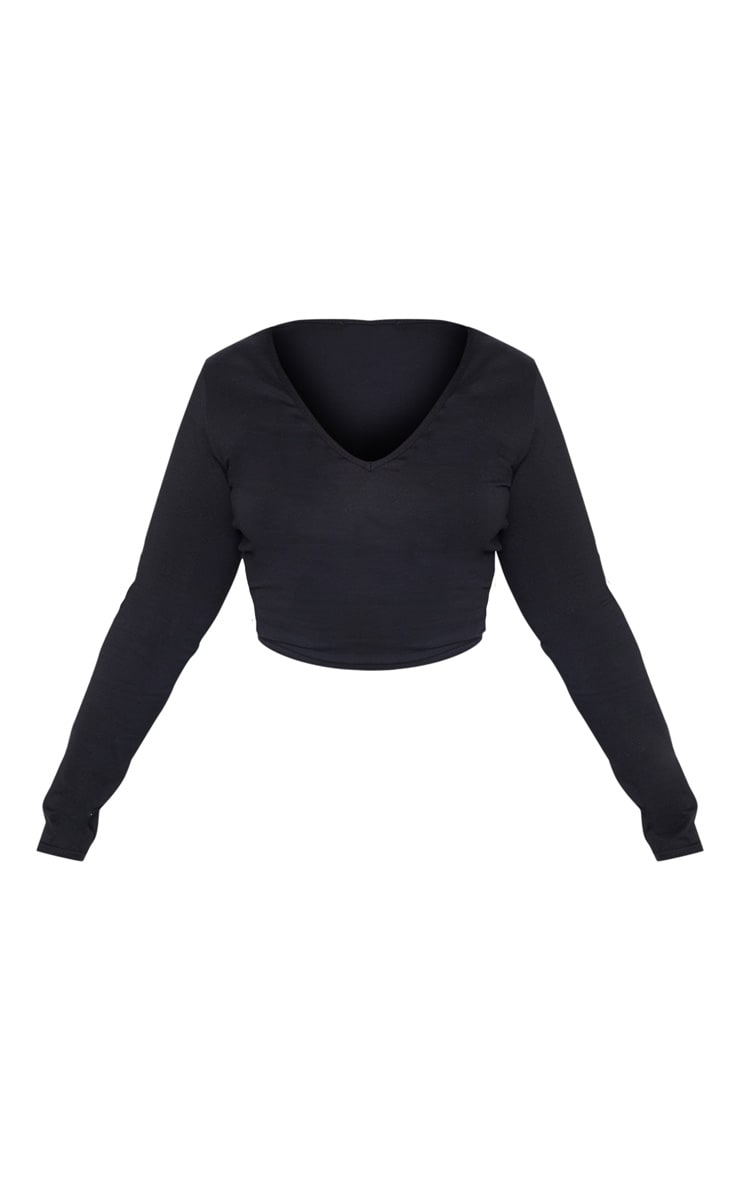 Plus Black Basic Longline Long Sleeve Top 3