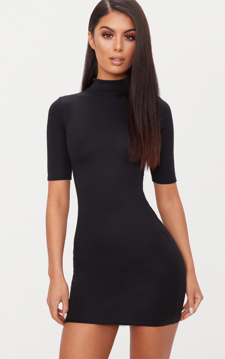Black Second Skin Ponte High Neck 3/4 Sleeve Bodycon Dress