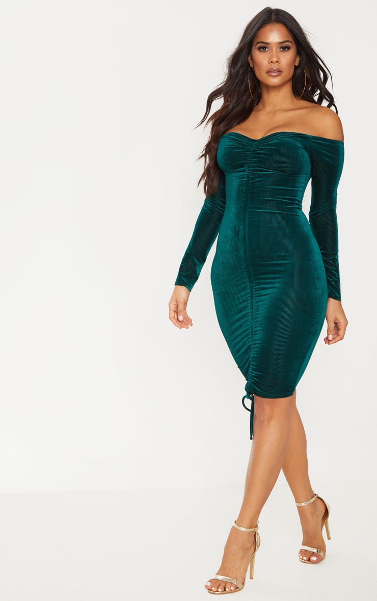 Emerald Green Ribbed Velvet Bardot Ruched Bodycon Dress 1